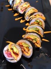 Chino Loco's sushi,  prepared at River's Edge Brewing