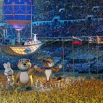 Large Olympic mascots and a vessel suspended in the air were part of the closing ceremony for the 2014 Sochi Winter Olympics on Sunday.