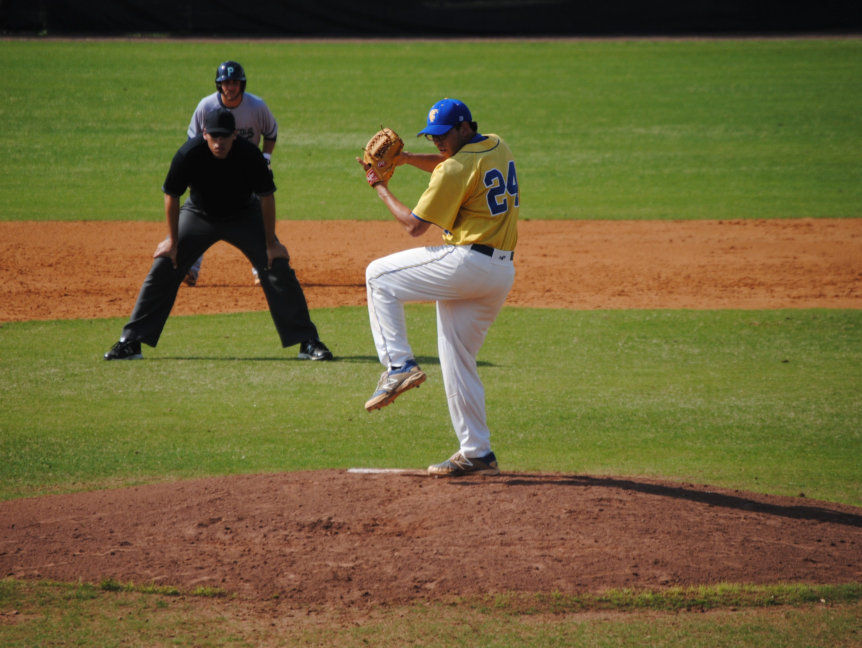 TCC pitcher Thomas Nicoll throws during a game this past season. Nicoll, a former Leon star, just completed his first year at TCC.