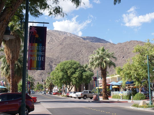 A flag announcing Greater Palm Springs Pride, which begins Nov. 6, hangs on Arenas Road on Tuesday, Nov. 3.