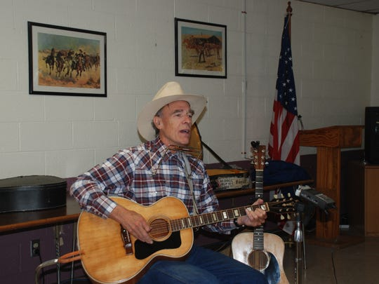 All over New Mexico and across the country, folk singer Steve Cormier, has captured the history of ranching and the open range. He is shown here at Ruidoso Community Center at a potluck hosted by Lincoln County Historical Society.