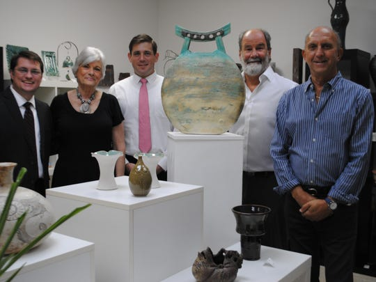Co-producers Marty Paris (far right) and Rusty Young (near right), with Barbara Hoffman (left), executive director of the Cultural Council of Indian River County, who is flanked by board members Patrick Farrah (left), chairman, and Michael Kissner (right).