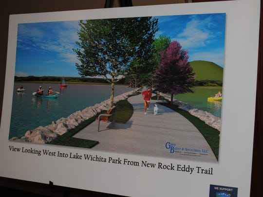A artistic rendering by Gary Baker and Associates shows a possible view of Lake Wichita from the West with a new rock eddy trail. A multi-million-dollar effort is underway to restore the lake  for habitat and recreational reasons.