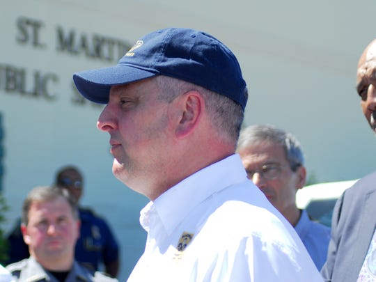 Governor John Bel Edwards meets with emergency officials and government representatives in St. Martin Paish to assess the damage caused by severe weather over the weekend. April 3, 2017.