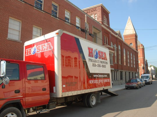Hosea Project Movers owner David Hosea sent a truck loaded with new furniture to a 60,000-square-foot church at 801 York St., Newport. Hosea purchased the building for $350,000 in 2016 to become a headquarters for his charities.