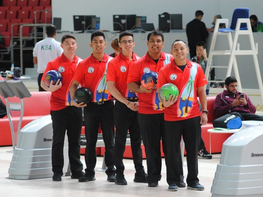 Team Guam's bowling team at the 5th Asian Indoor and
