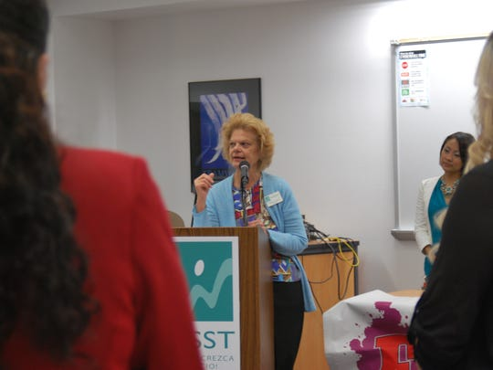 Agnes Noonan, president of WESST, speaks during Farmington's