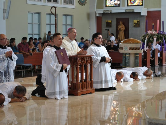 During the litany of supplication, the new deacons