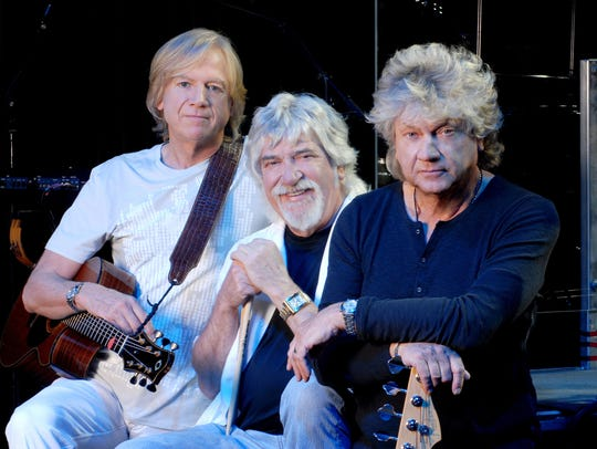 The Moody Blues current lineup of Justin Hayward, left,