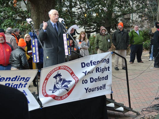 Philip Van Cleave, president of Virginia Citizens Defense League, speaking on the grounds Virginia Capitol on Monday, Jan. 15.