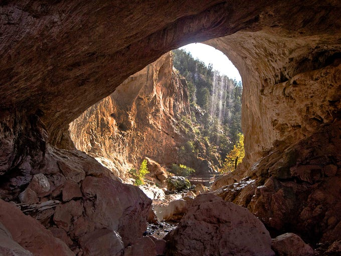 Tonto Natural Bridge north of Payson, AZ, is believed