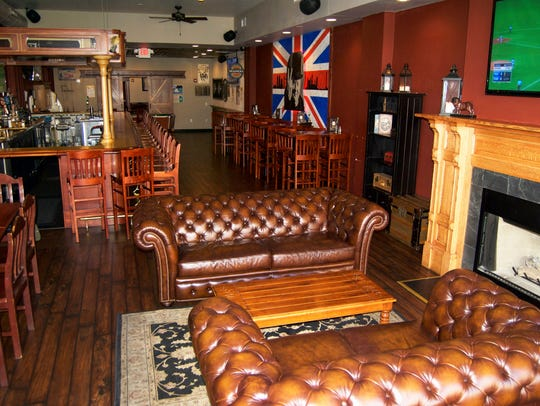The interior of Three Lions Pub pays tribute to its
