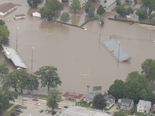 Fond du Lac School District's Fruth Athletic Field is submerged in water in an aerial view of the flooding in Fond du Lac. Friday, June 13, 2008.
