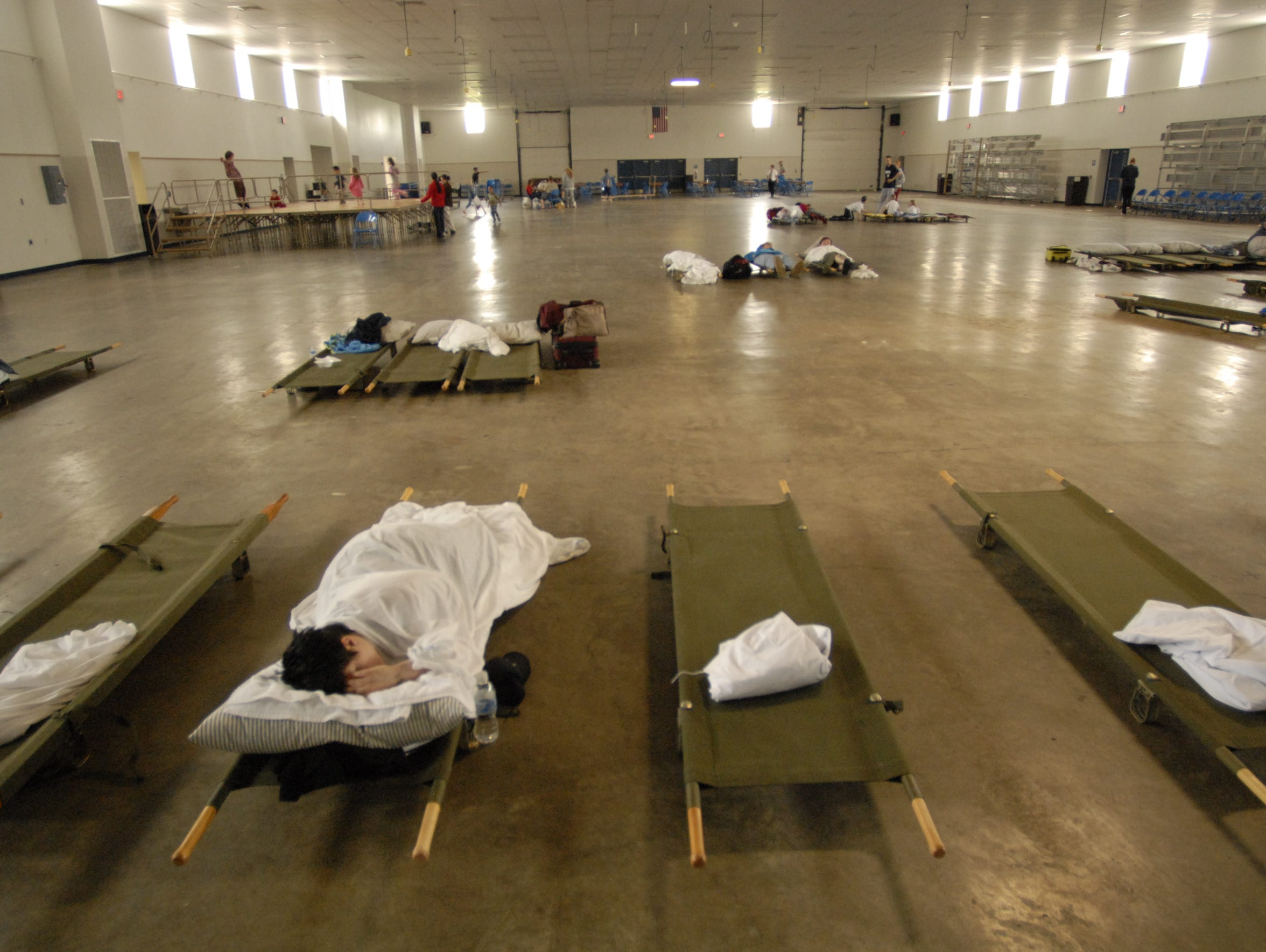 An emergency shelter set up at Fond du Lac County Fairgrounds