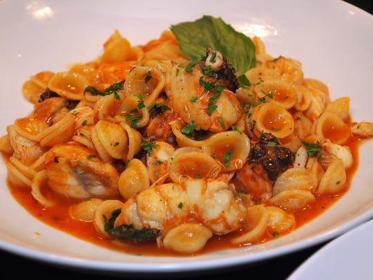 Orecchiette with grilled octopus, monkfish and crabmeat in a pomodoro and basil sauce at the Stone House.