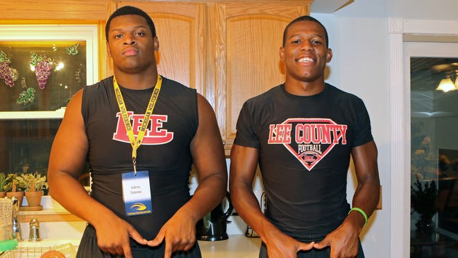 Aubrey Solomon, left, and Otis Reese flash the Block M on their visit to Ann Arbor last weekend.