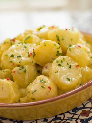 Potato Salad with Chili Coriander and Allioli is an easy, delicious side dish, perfect for the Labor Day holiday.