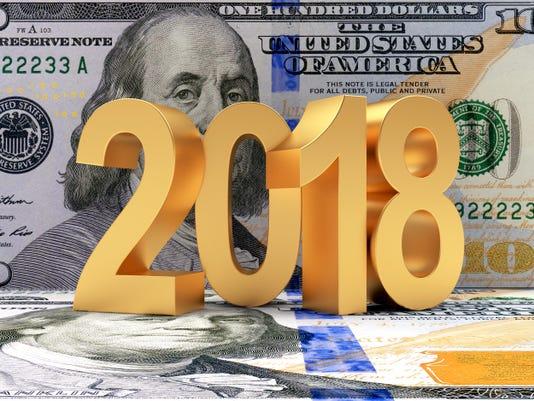 Golden 2018 New Year on dollar bills
