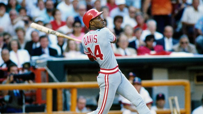 Cincinnati Reds center fielder Eric Davis batting during the 1989 MLB All Star Game at Anaheim Stadium. The AL All-Stars defeated the NL All-Stars 5-3.