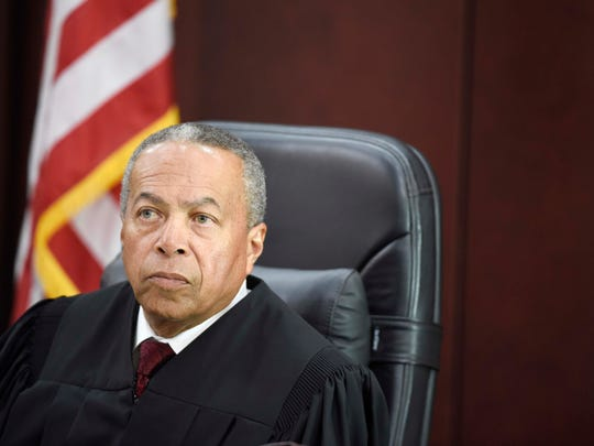 Judge Monte Watkins listens during the opening day of Cory Batey's trial in the A. A. Birch building April 4, 2016, in Nashville.