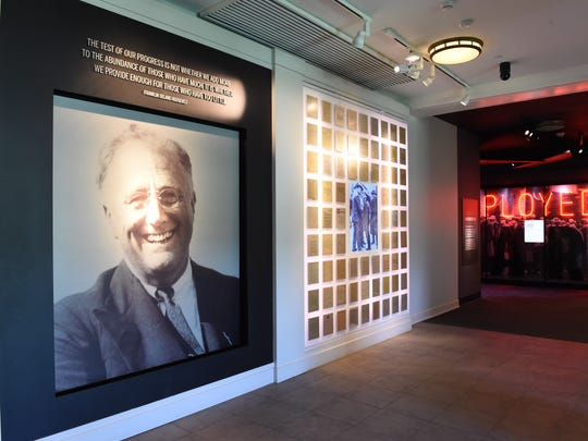 At the entrance of the FDR Presidential Library and