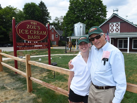 """Kathleen """"Zoe"""" and Robert Ferris at Zoe's Ice Cream Barn in LaGrangeville on Thursday.  Zoe and her father, Robert are opening their ice cream store on Monday. They will feature ice cream from Hudson Valley Fresh which is guaranteed to be from the cow to the cone in 3 days."""