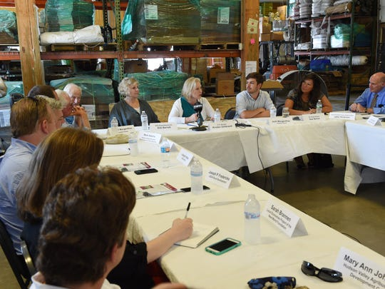 Senator Kirsten Gillibrand listens during an agricultural round table held at Fishkill Farms on Friday.  Gilibrand is touring the region holding listening sessions, gaining knowledge on how she can help author the next farm bill to best suit local agriculture.