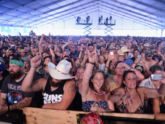 Guests enjoy the Lynyrd Skynyrd performance during day 1 of the Big Barrel Country Music Festival on June 26, 2015 in Dover, Delaware.