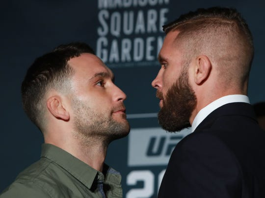 Frankie Edgar (left) and Jeremy Stephens square off during the UFC 205 Media Day at The Theater at Madison Square Garden on Wednesday.