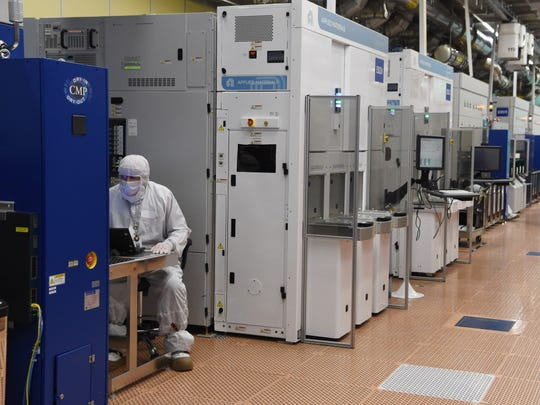 "A view of the ""clean room area"" inside GlobalFoundries'"