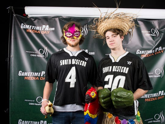 South Western lacrosse players Cole Shutika (left)