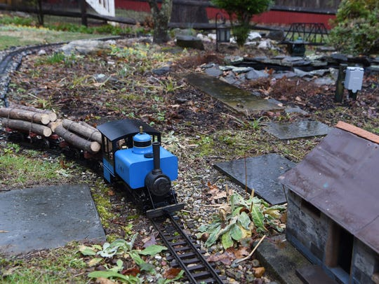 One of Thomas Murphy's trains pictured on his garden