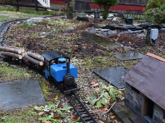 One of Thomas Murphy's trains pictured on his garden railway in the backyard of his Hyde Park home.