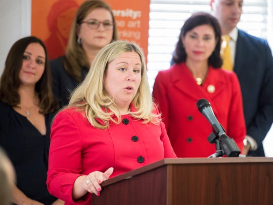 In this file photo from August 2017, Rep. Kate Klunk (R-Hanover) speaks during a press conference promoting legislation she introduced in the State House aimed at reducing domestic violence. House Bill 175 would establish a Lethality Assessment Program in the Commonwealth that would help train law enforcement members to identify domestic violence victims who are at the highest risk of being seriously injured or killed by their intimate partners.