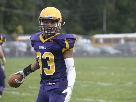 Hagerstown's Jalen Oliver during a football game. Hagerstown