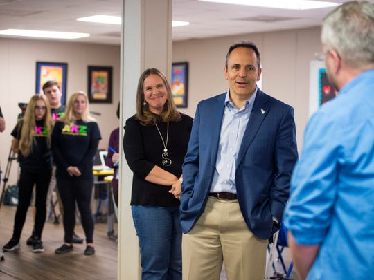 Kentucky Governor Matt Bevin speaks with Rob Carroll, right, principal of South Heights Elementary at the Audubon Kids Zone in Henderson, Ky., on Thursday, Oct. 12, 2017. Carroll also assists with leadership at the Audubon Kids Zone.