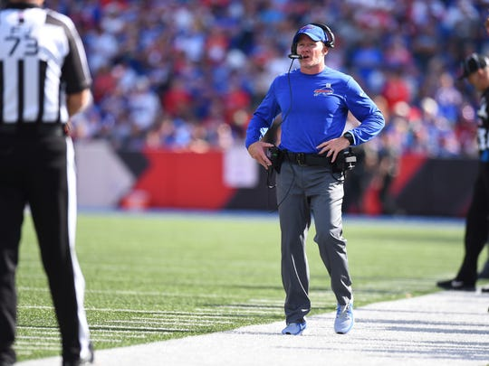 Buffalo Bills head coach Sean McDermott walks the sidelines during the first half of an NFL football game against the Tampa Bay Buccaneers Sunday, Oct. 22, 2017, in Orchard Park, N.Y. (AP Photo/Rich Barnes)