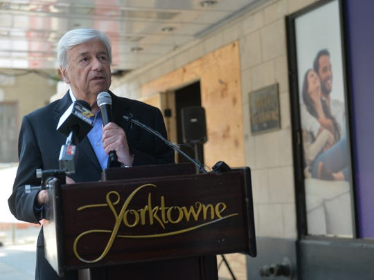 Jack Kay, chairman of the York County Industrial Development Authority, speaks about the new branding for the Yorktowne Hotel.