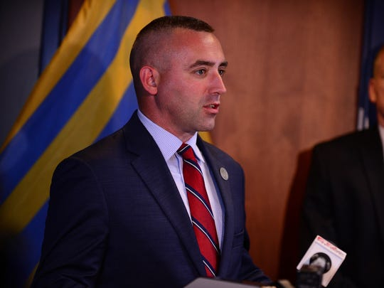 Salisbury Mayor Jake Day, speaks during the press conference related to the arrests in connection with a January armored truck robbery in Salisbury involving more than $1 million on Tuesday, May 22, 2018.