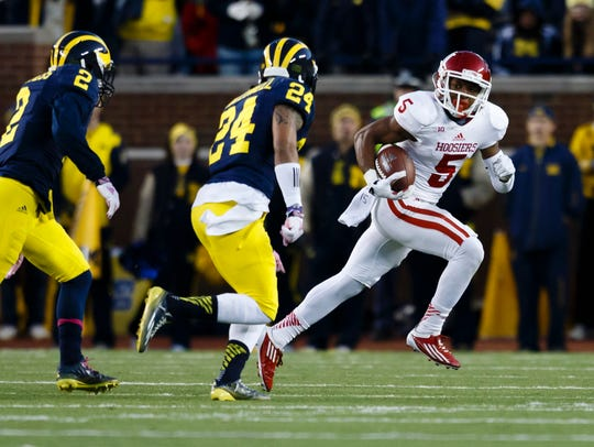 Nov 1, 2014; Ann Arbor, MI, USA; Indiana Hoosiers wide