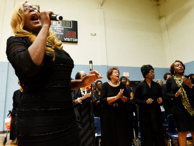Julie Pended sings with the SPAR combined choir during