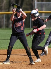 Marlboro's Ashley Vacca forces out Red Hook's Helena O'Shea at second, during a game in Red Hook on April 28.