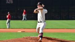 J.T. Ginn of Brandon High School throws a pitch during