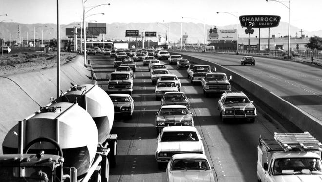 Looking south into oncoming traffic on Interstate 17 at Thomas Road in the 1970s.