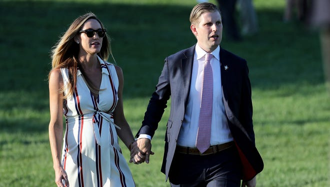 Lara Yunaska Trump and husband Eric Trump on July 16, 2017 at Trump National Golf Club in Bedminster, N.J.