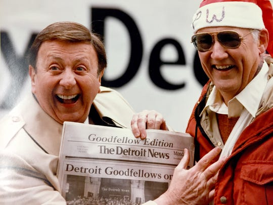 The late Sonny Eliot, left, a longtime radio and television personality, is photographed with Pete Waldmeir, the longtime Detroit News columnist, with a Goodfellows newspaper for sale in this undated photograph. The paper they are holding is a special edition used to raise money to buy items for children across metro Detroit.