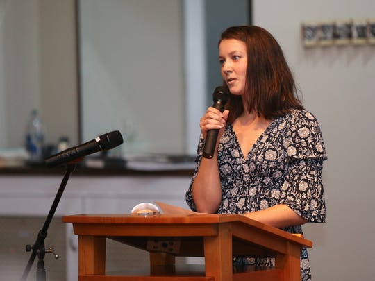 Brianna Staudt reads the prose she wrote for the Bridging Art event to benefit Volunteer New York! held at Union Arts Center in Sparkill on Tuesday, September 26, 2017.