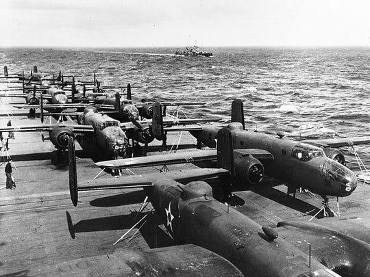 Army B-25 bombers atop the USS Hornet make their way toward Japan for World War II's famed Doolittle Raid.