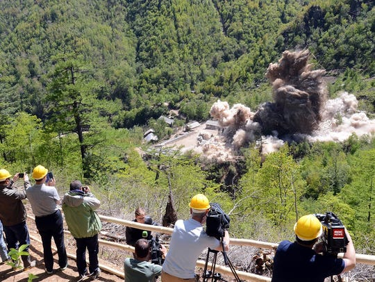 This is a  demolition 'ceremony' of North Korea's Punggye-ri