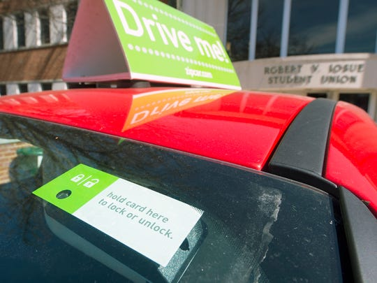 Zipcar, an auto-sharing service, debuted in spring 2016 at York College. A key card opens the car and the ignition key is inside.
